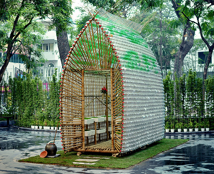 Beautifully ingenious greenhouse in vietnam is made from for Building with recycled plastic