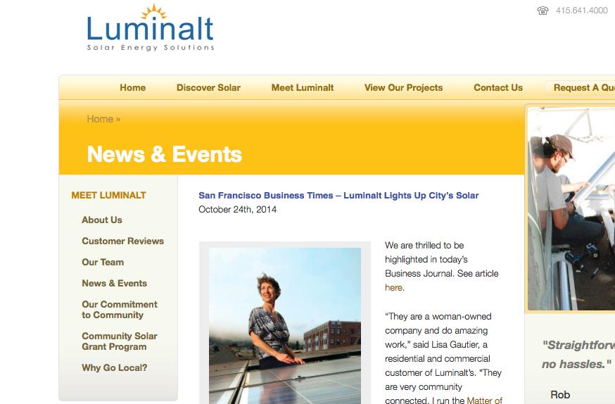San Francisco Business Times – Luminalt Lights Up City's Solar