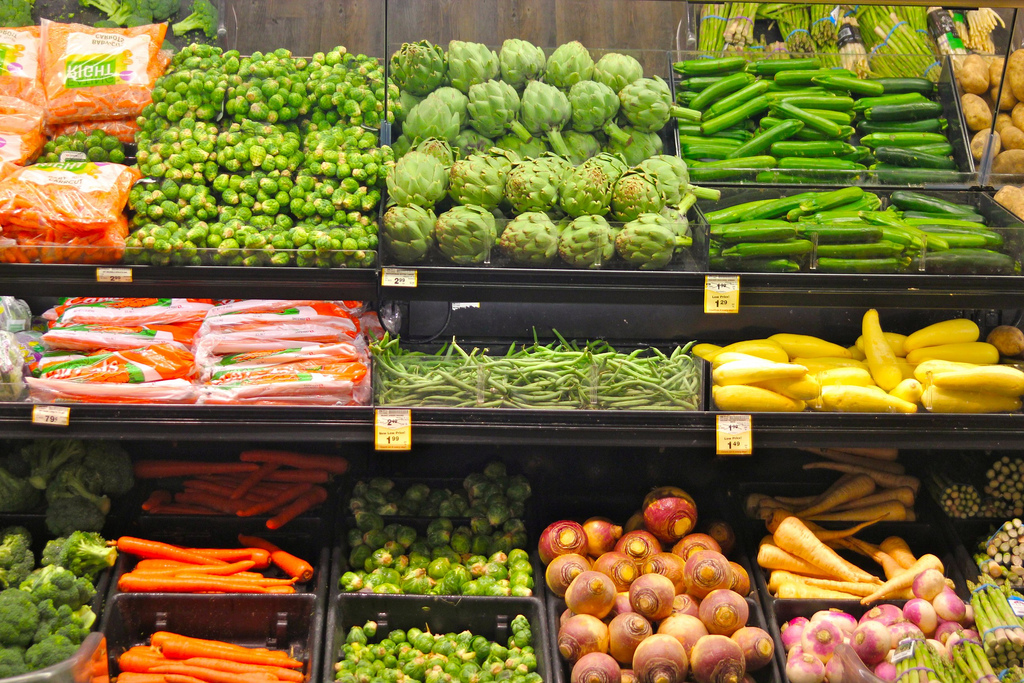 Vegetable aisle in a grocery store